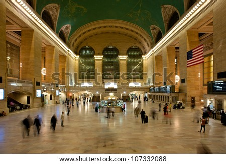 NEW YORK CITY - JUNE 26: Main hall of Grand Central Station June 26, 2012 in New York, NY. The terminal is the largest train station in the world by number of platforms having 44.
