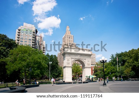 NEW YORK CITY - JUNE 28: Washington Square Park, with 9.75 acres (39,500 m2), it is a landmark in the Manhattan neighborhood of Greenwich Village, seen on June 28, 2012 in New York, NY.