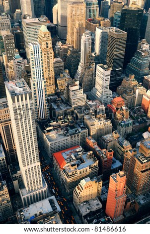 New York City Manhattan aerial skyline panorama view with skyscrapers and office buildings on street.