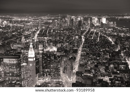 New York City Manhattan aerial view at dusk with urban city skyline and skyscrapers buildings black and white