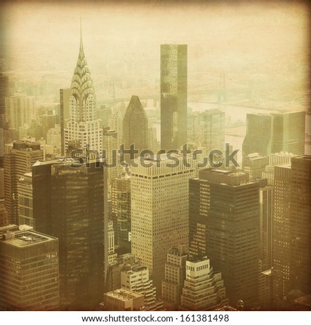 New York City Manhattan aerial view in grunge and retro style.