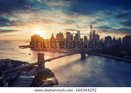 New York City - Manhattan after sunset , beautiful cityscape #260344292