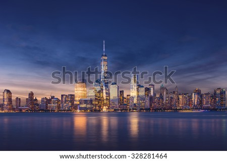 New York City - Manhattan after sunset - beautiful cityscape #328281464