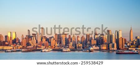 New York City Manhattan buildings midtown skyline sunset evening #259538429