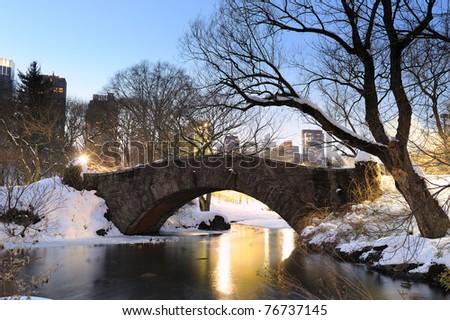New York City Manhattan Central Park in winter with bridge.