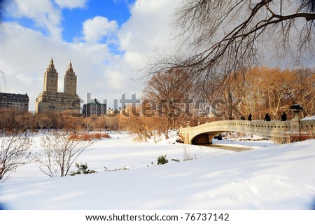 New York City Manhattan Central Park panorama in winter with ice and snow over lake with bridge,  skyscrapers and blue cloudy sky at dusk. #76737142
