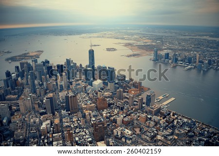 New York City Manhattan downtown aerial view #260402159
