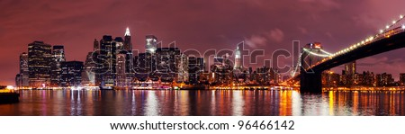 New York City Manhattan night scene panorama over Hudson River.
