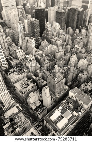 New York City Manhattan skyline aerial view black and white with skyscrapers and street. #75283711