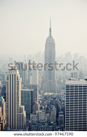 New York City Manhattan skyline aerial view with Empire State building in the fog