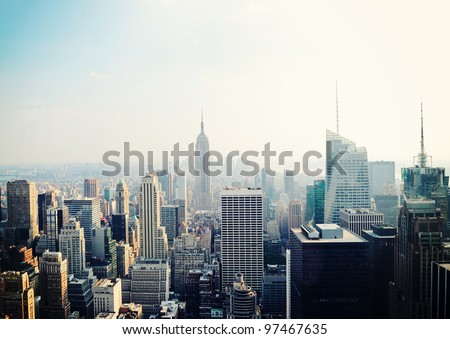 New York City Manhattan skyline aerial view with Empire State building in the fog #97467635
