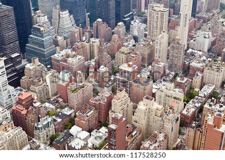 New York City Manhattan skyline aerial view with Empire State building on rainy day