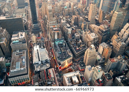 New York City Manhattan skyline aerial view with street and skyscrapers.