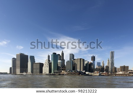 New York City Manhattan skyline and skyscrapers over Hudson River, New York City