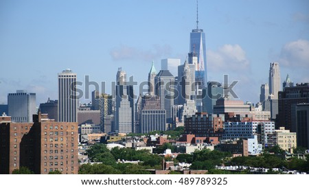 New York City Manhattan Skyline and Skyscrapers, U.S.A. #489789325