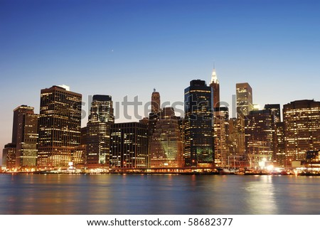 New York City Manhattan skyline at dusk over Hudson River with skyscrapers