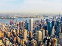 New York City Manhattan Skyline, helicopter flight view.  United States