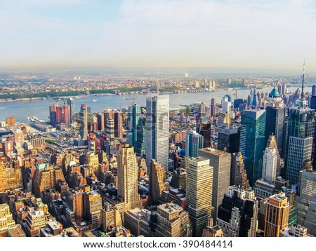 New York City Manhattan Skyline, helicopter flight view.  United States #390484414