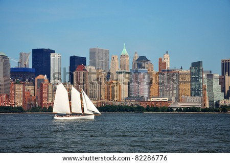 New York City Manhattan skyline, Manhattan West side, view Liberty State Park in New Jersey, USA