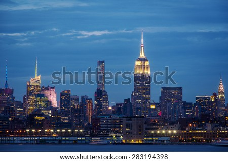New York City Manhattan skyline over Hudson River viewed from New Jersey. stock photo