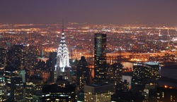 New York City Manhattan skyline with Chrysler building and skyscrapers aerial view.