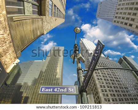 New York City - Manhattan Skyscrapers and Street Signs, U.S.A.
