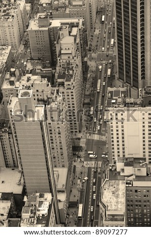 New york city manhattan street aerial view black and white with
