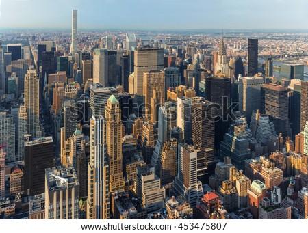 New York City Manhattan street aerial view with skyscrapers, skyscrapers New York, skyscrapers aerial, skyscrapers outdor, skyscrapers sunset, skyscrapers day,  sky scrapers, new york skyline, NY 2017 #453475807