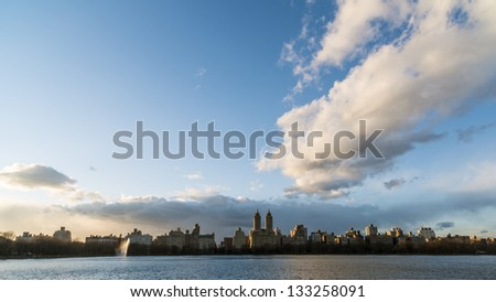New York City Manhattan View accross reservoir in Central Park