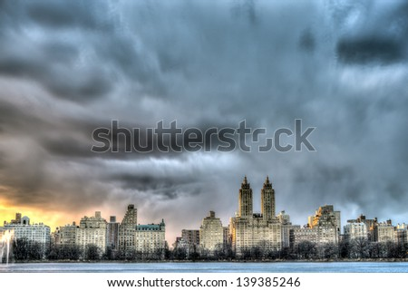 New York City Manhattan View accross reservoir in Central Park