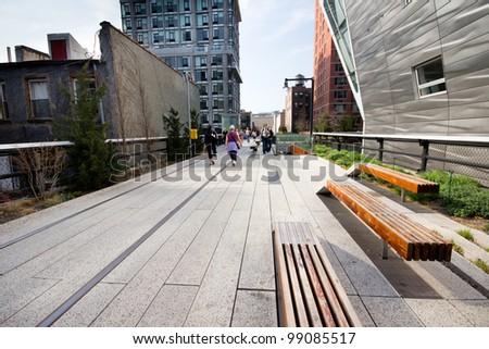NEW YORK CITY - MAR. 23:  High Line Park in NYC seen on March 23, 2012.The High Line is a public park built on an historic freight rail line elevated above the streets on Manhattans West Side.