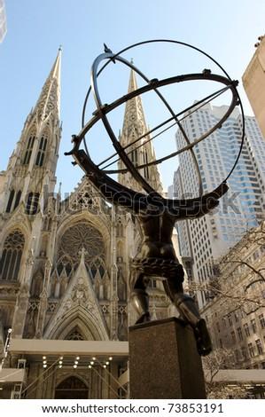 NEW YORK CITY - March 8: Fifth Avenue, as a symbol of wealthy New York, with Atlas statue and St. Patrick's Cathedral, March 8, 2011 in Manhattan, New York City.