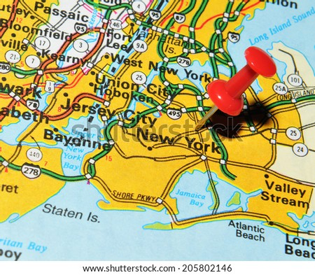 New York city marked with red pushpin on US map. New York is the most populous city in the world
