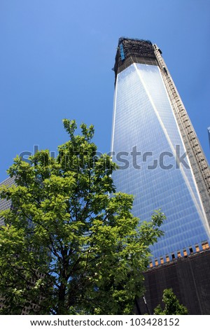 NEW YORK CITY - MAY 19: Construction on One World Trade Center (formerly the Freedom Tower) surpasses the 100th floor on May 19, 2012 in New York City, NY.