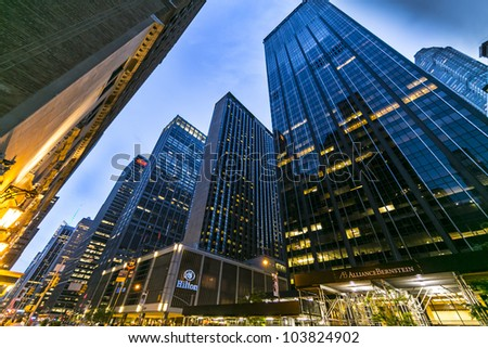 NEW YORK CITY - MAY 15: Manhattan street view of Sixth Avenue at night/dusk on May 15, 2012.