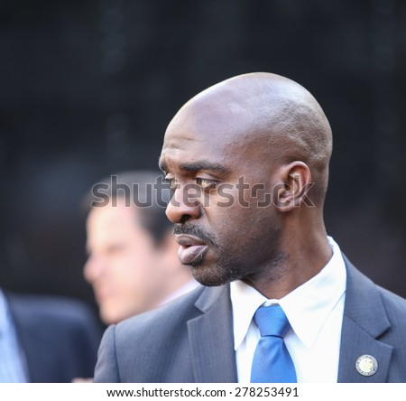 NEW YORK CITY - MAY 14 2015: several thousand tenants along with city council & state assembly members staged a march across the Brooklyn Bridge for affordable housing. Assembly man Michael Blake.