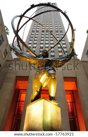 NEW YORK CITY - MAY 14: The historic Atlas Statue in Rockefeller Center stands in front o f the GE Building May 14, 2010 in New York City.