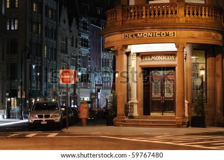 NEW YORK CITY - MAY 26: The historic 19th Century eatery Delmonico's illuminated at night May 26, 2010 in New York, New York.