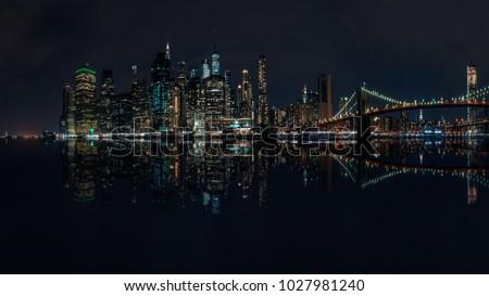 New York City Metropolis, skyline by night