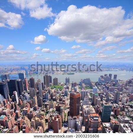 New York City. Midtown Manhattan aerial view towards Tudor City, Murray Hill, Kips Bay and East River. Stock fotó ©