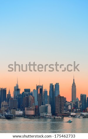 New York City midtown Manhattan sunset skyline panorama view over Hudson River #175462733