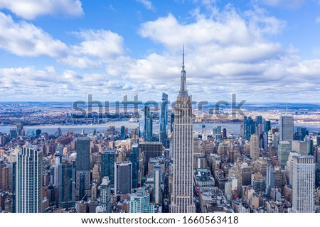 New York City Midtown Skyline with Hudson Yard in daytime, aerial photography