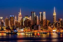 New York City night skyline Manhattan midtown buildings