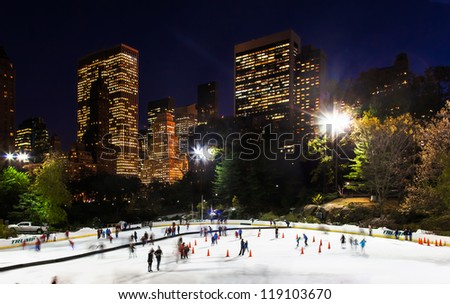 NEW YORK CITY-NOV. 9: The Wollman Ice Rink in Central Park on Nov. 9, 2012 in New York City. Operations are back to normal after a big storm dropped 4 inches of snow on the rink two days ago.
