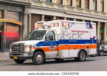 NEW YORK CITY - NOVEMBER 21, 2013: New York Presbyterian Hospital van during service. The hospital is a 2,409 bed unit, making it the largest no-profit and non-sectarian hospital in the United States.