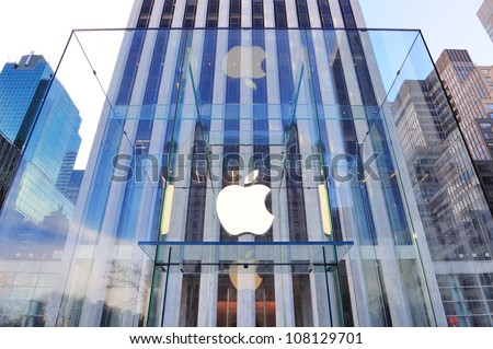 NEW YORK CITY, NY - DEC 30: Apple store logo on December 30, 2011 in New York City. It is the world's largest publicly traded company designs and sells consumer electronics and computer products.