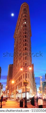 NEW YORK CITY, NY - DEC 30: Flatiron Building at night on March 30, 2011 in New York City. Flatiron building designed by Chicago's Daniel Burnham was designated a New York City landmark in 1966.