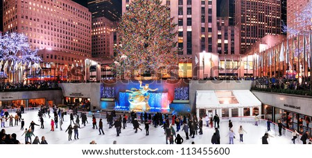 NEW YORK CITY, NY -DEC 30: Rockefeller Center skating rink at night on December 30, 2011, New York City. It was built by the Rockefeller family in 1939 and declared National Historic Landmark in 1987.