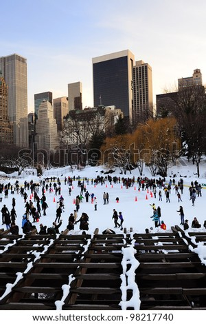 NEW YORK CITY, NY - JAN 1: Central Park Ice Rink on January 1, 2011 in Manhattan, New York City.Central park has been a National Historic Landmark since 1963.