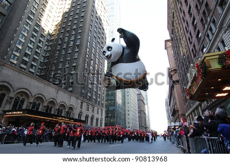 NEW YORK CITY, NY - NOVEMBER 24: Kung Fu Panda balloon floats in the Macy's 85th Annual Thanksgiving Day Parade on November 24, 2011 in New York City, New York.